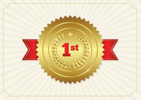 First Place Ribbon Badge Illustration vector