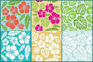 Hawaiian Flowers Pattern Vectors