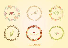 Hand-Drawn Floral Wreaths vector