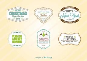 New Year 2016 Retro Labels vector