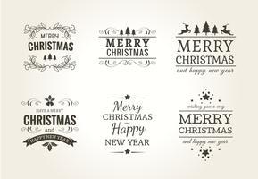 Jul Typografisk Etikett Set