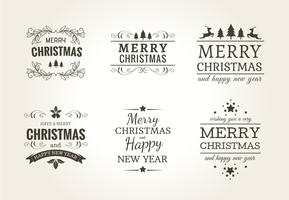 Conjunto de etiquetas tipográficas de natal