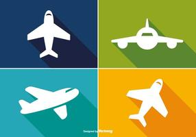 Trendy Long Shadow Airplane Icon Set