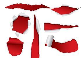 Rojo vectores de papel rasgado