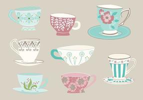 Vectores dibujados a mano de la taza de té
