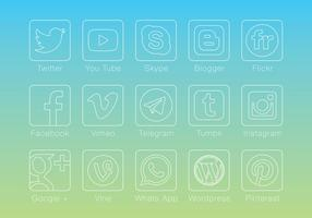 Dunne Lineaire Sociale Media Vectors