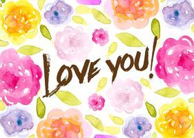 Fundo floral romântico aquarelado