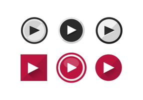 Flat Play Buttons Vector Icons