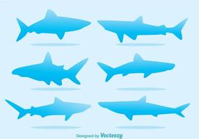 Vecteurs de silhouette de requin bleu