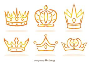 Golden Linear Crown Logo Vectors