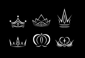 Vetores do logotipo da coroa branca