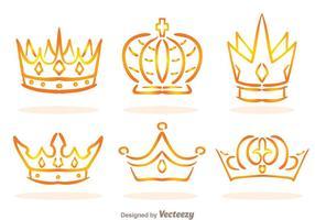 Golden Linear Crown Logo Vectors