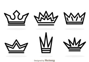 Outline crown logo vektorer