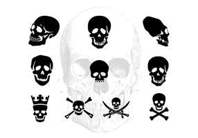 Pack de silhouettes de crâne vectoriel