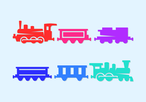 Various Cute Train Silhouettes Vector Icons