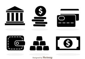 Iconos de Black Bank vector