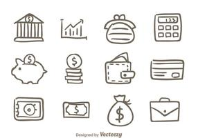 Hand Drawn Bank Icons vector