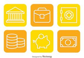 Flat Colorful Bank Icons vector