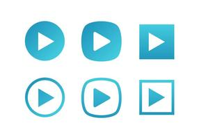 Blue Set Of Play Button Icônes vectorielles gratuites