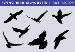 Flygande fågel silhuett fri vektor