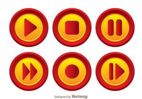 Conjunto de botões vermelhos e laranja