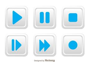 White Rounded Square Media Button vector