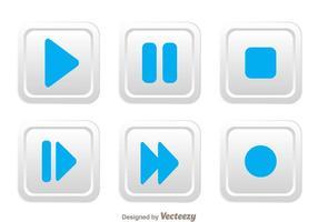 Botão de mídia quadrada arredondada branca