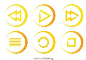 Simple Line Media Buttons