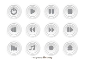 Conjunto de botões de mídia de círculo branco