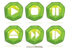 Green Gem Button Vectors