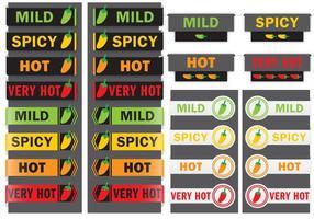 Etiquetas de la pimienta caliente