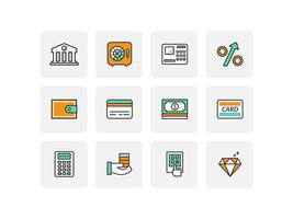 Flat Line Bank Icons