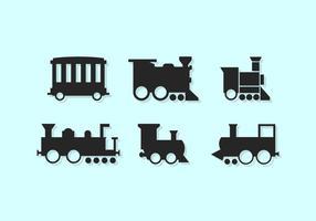 Siluette sveglie delle icone di vettore del treno liberamente
