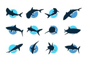 Ícones de silhuetas de vetores de tubarão grátis