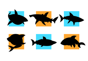 Cartooned Sharks Silhouetten Vector kostenlos