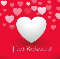 Hearts in red background vector