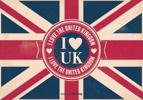 Eu amo a ilustração vintage do Reino Unido