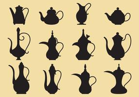 Coffee and Tea Pots Silhouettes vetor