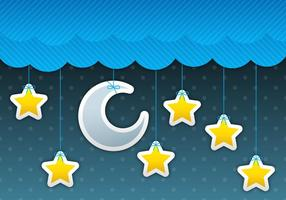 Moon And Stars Sky vector