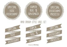 Hand Drawn Style Discount Label Set vector