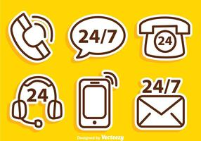 Call Us Outline Icons vector