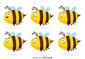 Vectores lindos de la abeja con expresiones