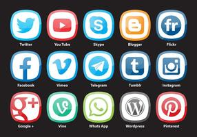 Afgeronde Square Social Media Vectoren