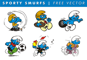 Sporty Smurfs Free Vector