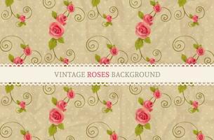 Gratis Vector Vintage Roses Bakgrund