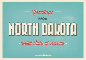 Typographic North Dakota Greeting Illustration