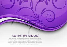 Abstract Purple Wave with Floral Elements