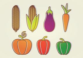 Många vektorgrönsaker