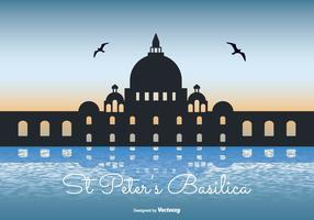 St Peter Basilica Silhouette Illustration