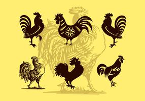 Ilustrações de ilustrações de galo vector silhuetas grátis